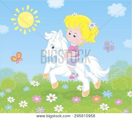 Little Cute Girl Riding A White Pony On A Green Field With Flowers On A Sunny Day, Vector Illustrati