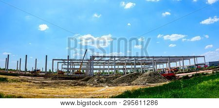 Panorama Is Taken With Wide Lens, Unfinished Concrete Edifice Under Construction, People Are Working