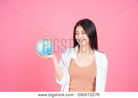 Successful Beautiful Asian Business Young Woman Holding Vintage Map Of The Globe World Map In Hand O