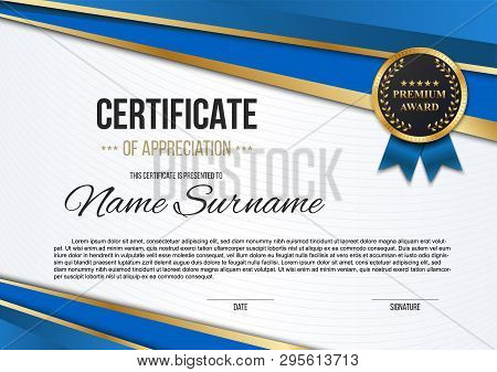 Creative Vector Illustration Of Stylish Certificate Template Of Appreciation Award Isolated On Backg