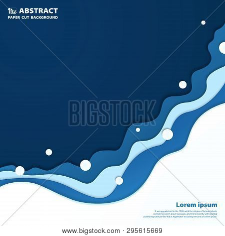 Abstract Blue Wavy Sea Paper Cut Background. You Can Use For Ad, Poster, Artwork, Cover Design, Artw