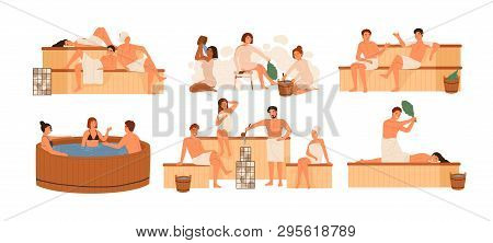 Collection Of People Bathing In Sauna Or Banya Full Of Steam. Set Of Happy Men And Women Taking Bath