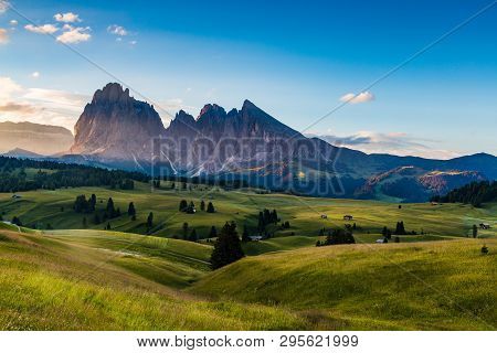 Beautiful Landscape Of Alpe Di Siusi In Dolomite, Italy In The Morning