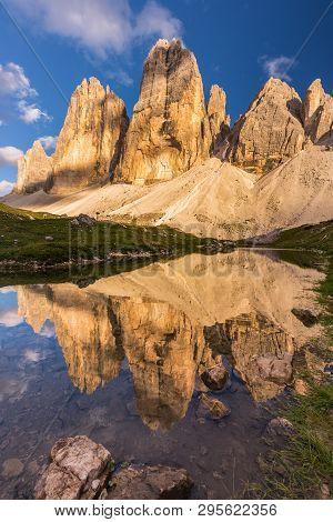 Tre Cime Peaks From Tre Cime Di Lavaredo Loop Trail, Italy