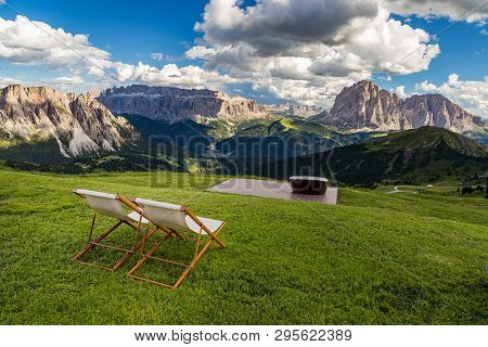 Romantic Seats To See Breathtaking View Of Dolomites Landscape At Seceda Peak, Italy