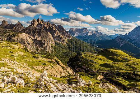 Dolomites Mountain Landscape View From Tre Cimes Lavaredo Loop Trail