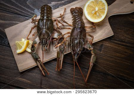 Crayfish. Fresh Crayfish On A Table In A Rustic Style, Close-up. Lobster Closeup