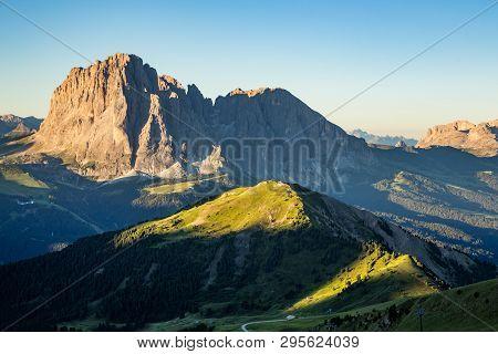 Dolomite Mountain Landscape At Sunrise From Seceda Peak, Italy