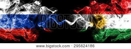 Russian Vs Kurdistan, Kurdish Smoke Flags Placed Side By Side. Thick Colored Silky Smoke Flags Of Ru