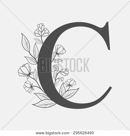 Uppercase Letter C With Flowers And Branches. Vector Flowered Monogram Or Logo. Hand Drawn Concept.