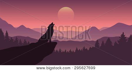 Wolf Howls At Full Moon Purple Wildlife Nature Landscape Vector Illustration Eps10
