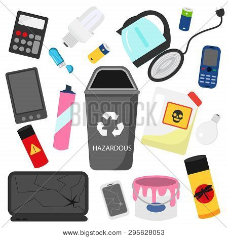 Waste Sorting. Household Hazardous Garbage. E-waste, Pesticides, Batteries And Other Trash Icons.