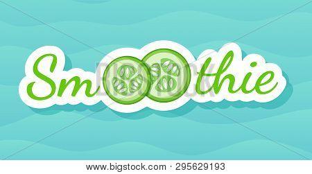 Green Sticker Vegetable Smoothie Shake Logo Set Vector Illustration. Vegetarian Smoothies Drink Labe