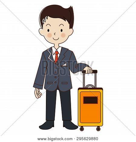 Steward With Yellow Luggage. Occupation Steward ,flight Attendant.