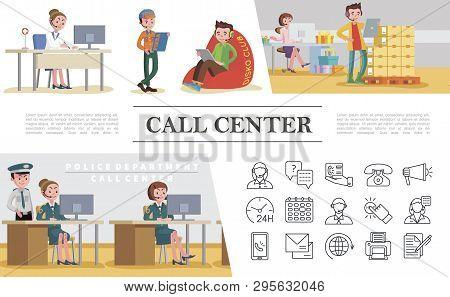 Flat Call Center Vector Photo Free Trial Bigstock