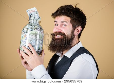 Engaging In Investment Activity. Happy Businessman Making A Good Investment. Bearded Man Investor Sm