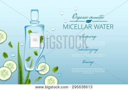 Original Advertising Poster Design With Water Drops And Liquid Packaging Silhouette For Catalog, Mag