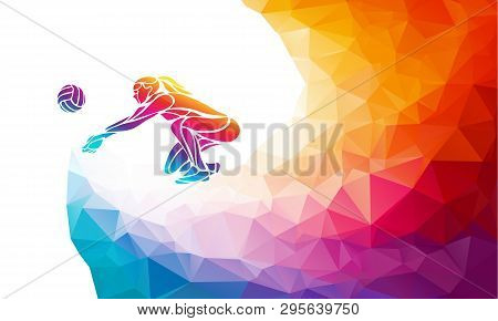 Volleyball Lady Player. Team Sport Vector Polygonal Banner