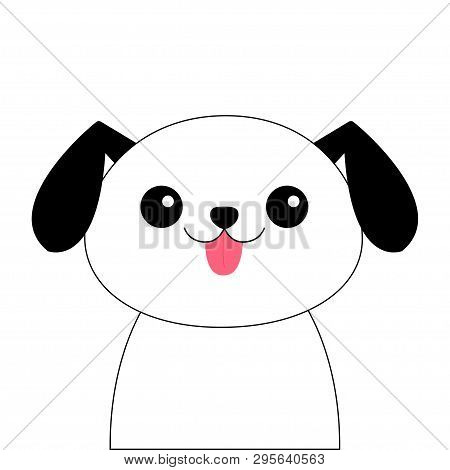 poster of Dog contour line head face silhouette. Doodle linear sketch. Cute cartoon pooch character. Kawaii animal. Funny baby puppy. Love Greeting card Flat design White background Isolated Vector illustration