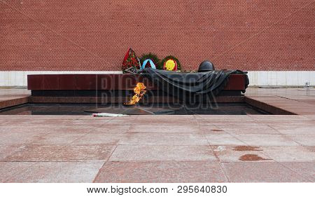 Moscow, Russia. April 14, 2019 Eternal Flame At The Tomb Of The Unknown Soldier In Moscoweternal Fla