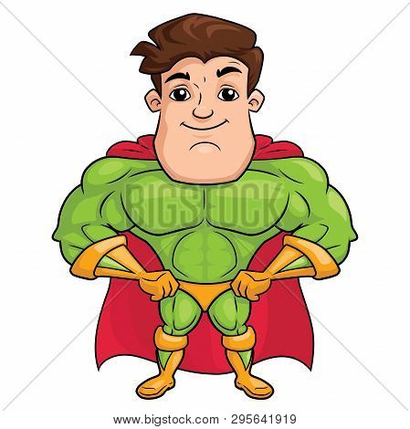 Illustration Of A Handsome Superhero Standing On A White Background