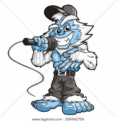 Illustration Of A Smiling Yeti Rapper With A Microphone On A White Background