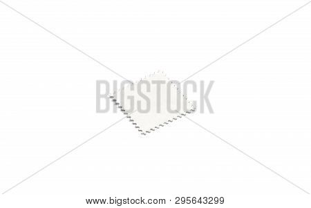 Blank White Square Postage Mark Mock Up, Side View, Isolated, Depth Of Field, 3d Rendering. Empty Po