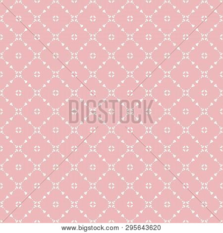 Vector Geometric Floral Seamless Pattern With Small Flower Shapes, Delicate Grid, Net, Mesh, Lattice
