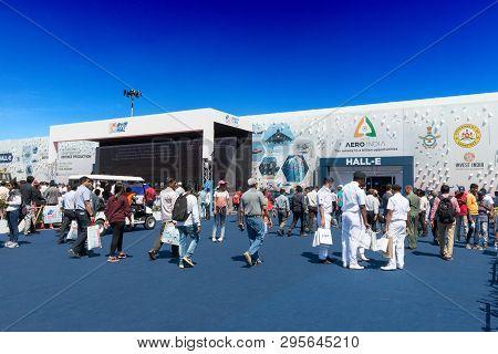 Bengaluru, India - February 22, 2019: Visitors At The Aero India 2019. Aero India Is A Biennial Air