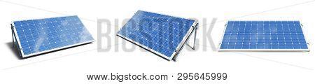 3d Illustration Solar Panels Isolated On White Background. Set Solar Panels With Reflection Beautifu