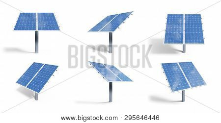 poster of 3D illustration solar panels isolated on white background. Set solar panels with reflection beautiful blue sky. Concept of renewable energy. Ecological, clean energy. Eco, green energy. Solar cells.