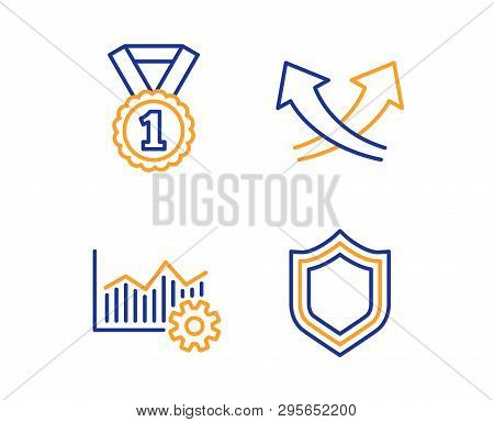 Best Rank, Intersection Arrows And Operational Excellence Icons Simple Set. Security Sign. Success M