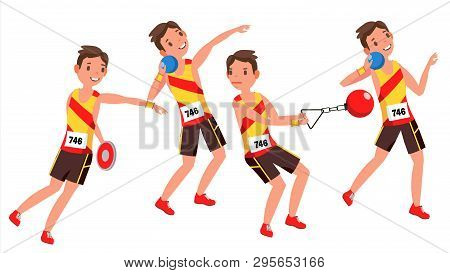 Athletics Male Player . Playing In Different Poses. Man Athlete. Isolated On White Cartoon Character