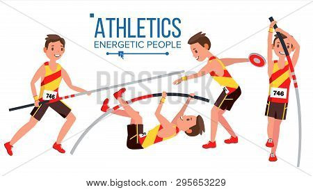 Athletics Male Player . In Action. Sport Concept. Jogging Race. Sportswear. Individual Sport. Cartoo