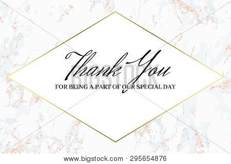 Thank You Card. Wedding Design Template. Pink Marble. Marble Background And Gold Text. Dimensions 9x