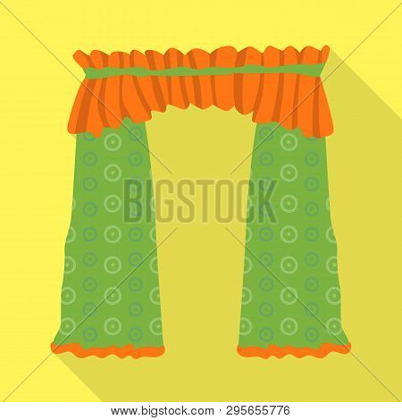 Vector design of drapes and cornice logo. Set of drapes and cosiness stock vector illustration. poster