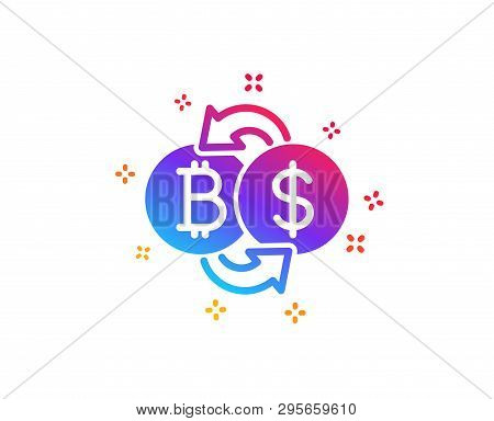 Bitcoin Exchange Icon. Cryptocurrency Coin Sign. Dollar Money Symbol. Dynamic Shapes. Gradient Desig