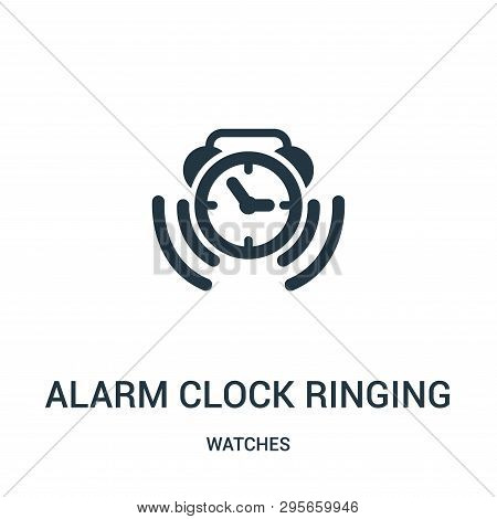Alarm Clock Ringing Symbol Icon Isolated On White Background From Watches Collection. Alarm Clock Ri