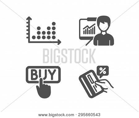 Set Of Buying, Dot Plot And Presentation Icons. Credit Card Sign. E-commerce Shopping, Presentation
