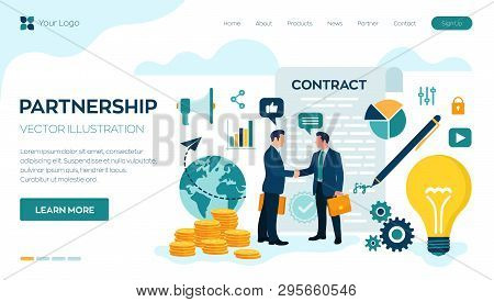 Partnership Concept. Financing Of Creative Projects. Handshake Of Two Business Men. Agreement Of Par