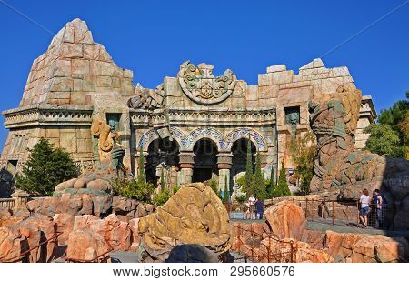 Orlando, Fl, Usa - Dec. 17, 2010: Poseidon`s Fury In The Islands Of Adventure Of Universal Orlando,