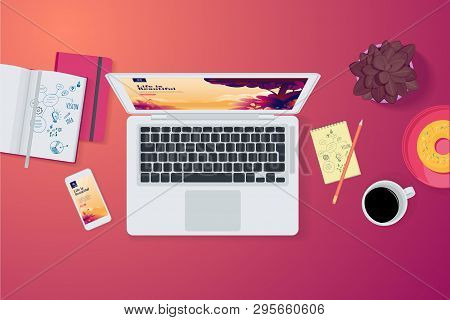Creative Workspace Concept, Top View. Flat Design Vector Illustration For Graphic And Website Design
