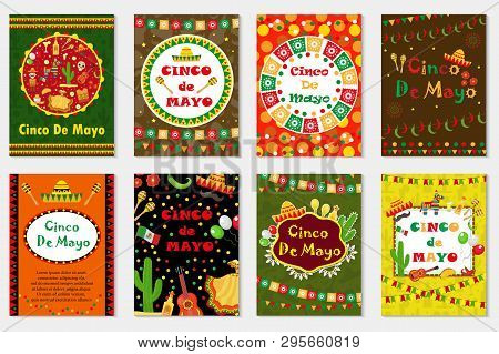 Cinco De Mayo Set Greeting Card, Template For Flyer, Poster, Invitation. Mexican Celebration With Tr