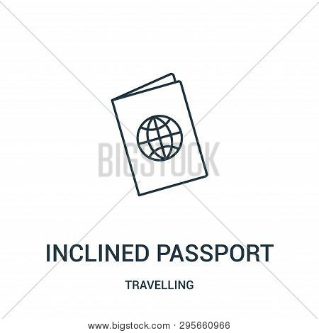 Inclined Passport Icon Isolated On White Background From Travelling Collection. Inclined Passport Ic