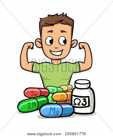 Boy Flaunting His Muscles With Microelements And Supplements In Front Of Him. Fitness And Healthy Li