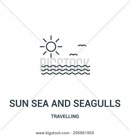 Sun Sea And Seagulls Icon Isolated On White Background From Travelling Collection. Sun Sea And Seagu