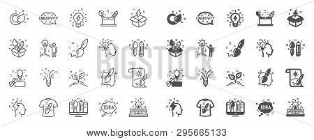 Creativity Brush Line Icons. Set Of Design, Idea And Inspiration Linear Icons. Imagination, Idea Box