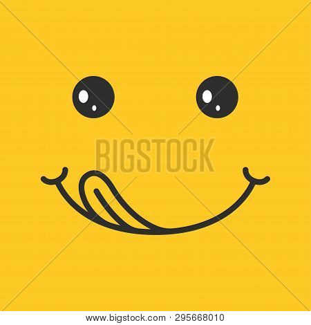 Yummy Smile On Yellow Background. Emoticon With Tongue Lick Mouth Eating Delicious, Tasty Food. Happ