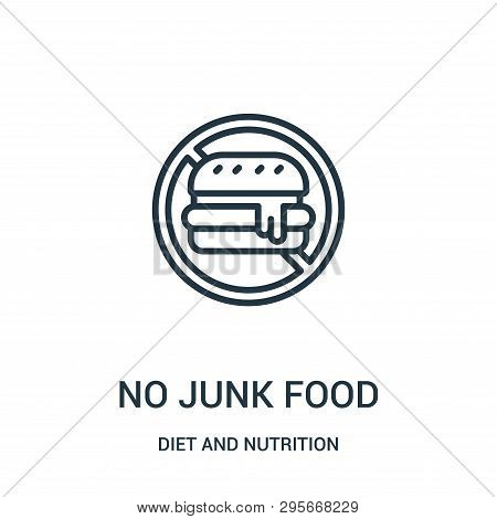 No Junk Food Icon Isolated On White Background From Diet And Nutrition Collection. No Junk Food Icon