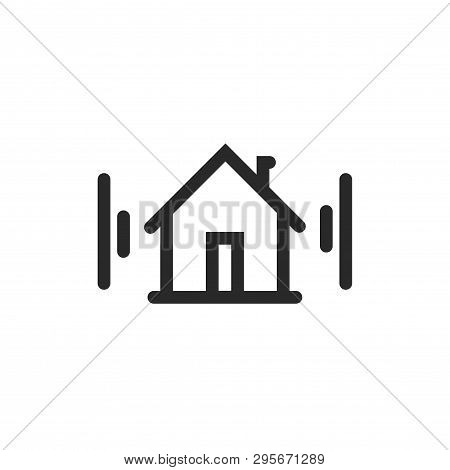 Home Icon Vector Symbol, Line Outline Art House Pictogram Signal Waves, Idea Of Door Phone Protectio